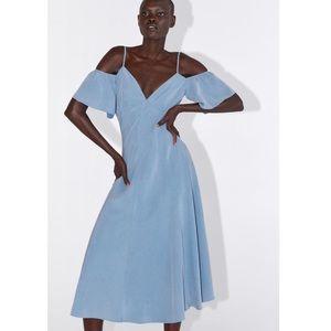 NWT Zara Blue Midi Dress XS